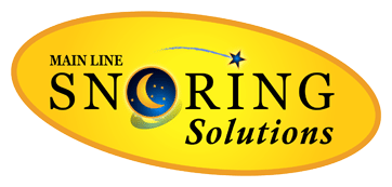 Yellow logo of Main Line Snoring Solutions with a moon and a star
